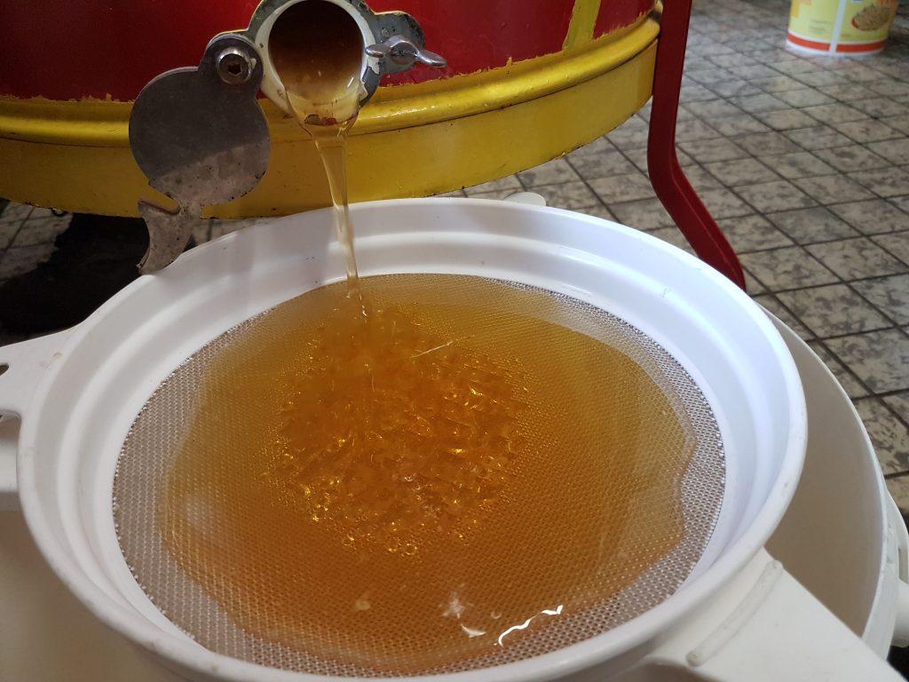 Honing slingeren bij zorgimkerij Moergoed
